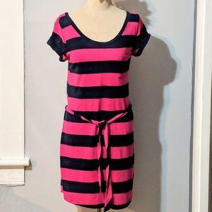 Banana Republic T-shirt Dress, Navy/Pink Stripes